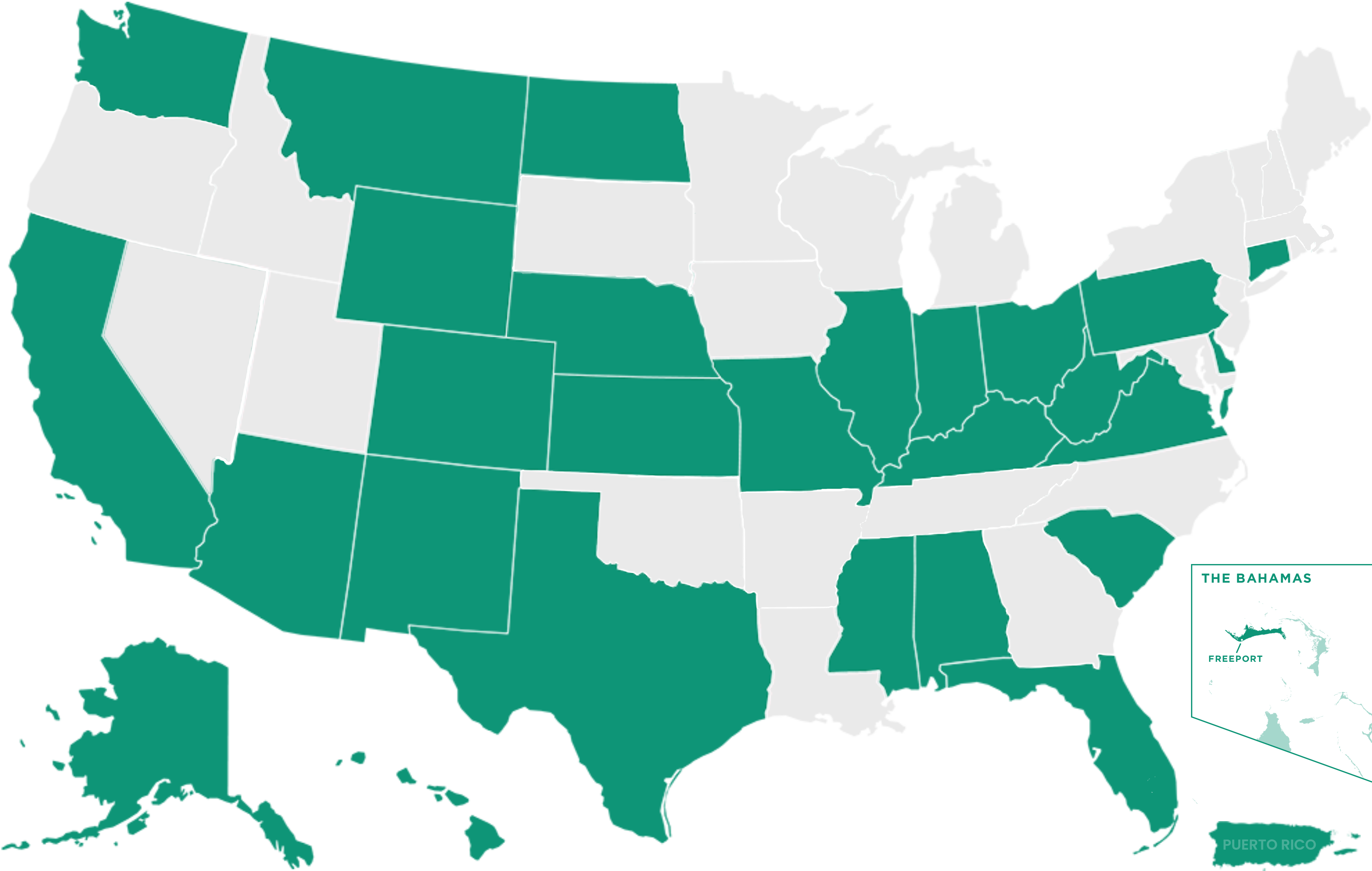 A map of the united states, highlighting the over 35 states which frey municipal software have software implemented.